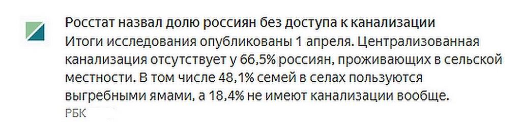 Доля россиян без доступа к канализации